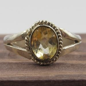 Size 7 Sterling Silver Rustic Citrine Gem Ring